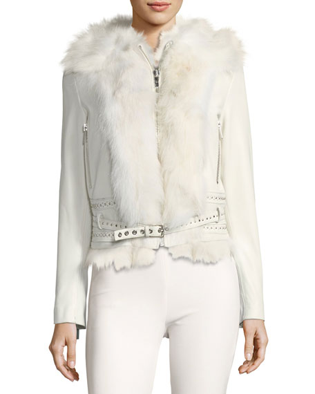 Mazarine Belted Leather Jacket with Fox Fur Trim