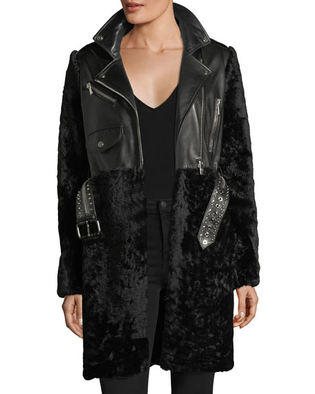 Shearling & Leather Moto Coat