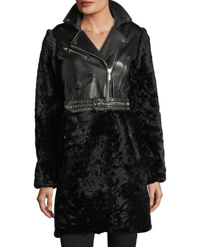 Shearling & Leather Moto Coat