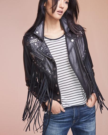 Whiskey Star-Studded Fringed Leather Moto Jacket