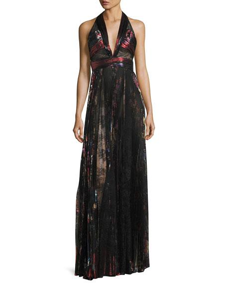 Pleated Lamé & Lace Halter Gown