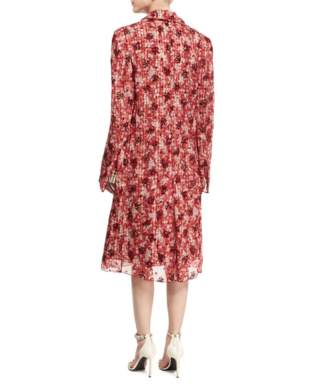 Double-Breasted Check Coat with Floral Georgette Overlay