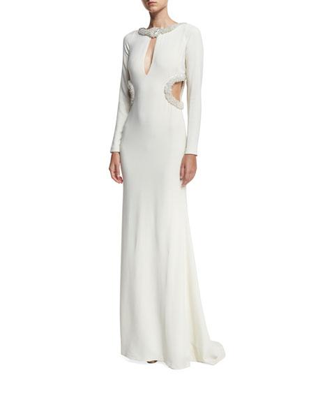 Roberto Cavalli Beaded Keyhole Column Gown