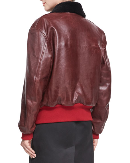 Leather Bomber Jacket with Shearling Lining