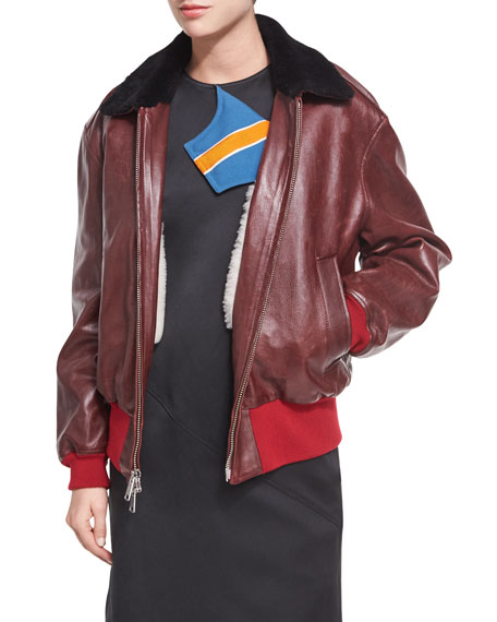 CALVIN KLEIN 205W39NYC Leather Bomber Jacket with Shearling