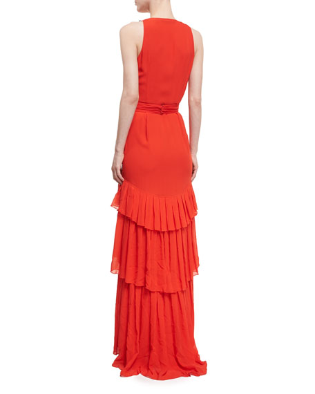 Tiered Silk V-Neck Gown with Bar Details
