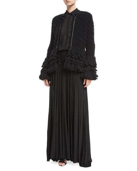 Ruched-Waist Bar-Detail Viscose Maxi Skirt