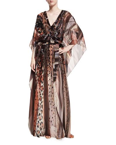 Paillette-Embellished Leopard Silk Chiffon Caftan