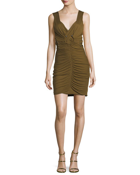 Ruched Viscose Minidress with Bar Details