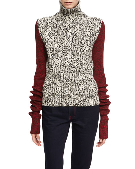 CALVIN KLEIN 205W39NYC Two-Tone Chunky Tweed Turtleneck Sweater