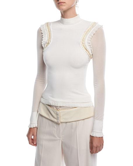 Mock-Neck Ruffle-Shoulder Sweater