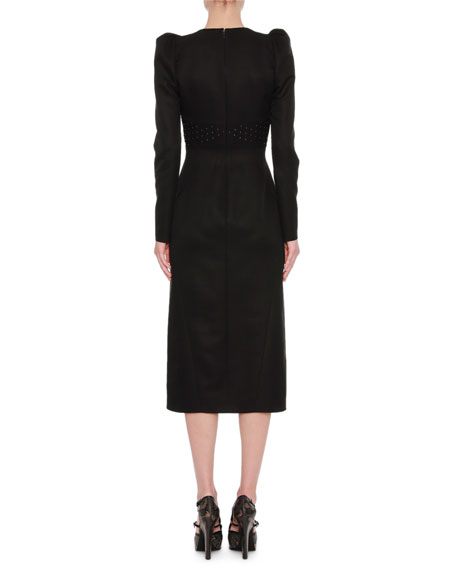 Studded Puff-Shoulder Midi Dress