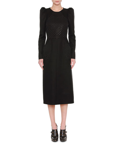 Bottega Veneta Studded Puff-Shoulder Midi Dress