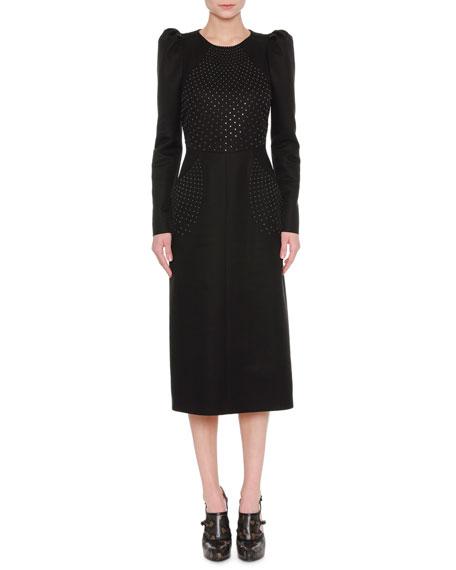 Bottega Veneta Studded Puff-Shoulder Midi Dress