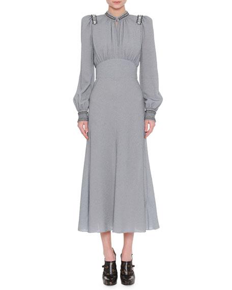 Bottega Veneta Embellished Lurex Long-Sleeve Dress