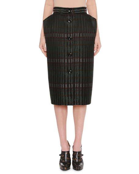 Bottega Veneta Button-Front Jacquard Pencil Skirt