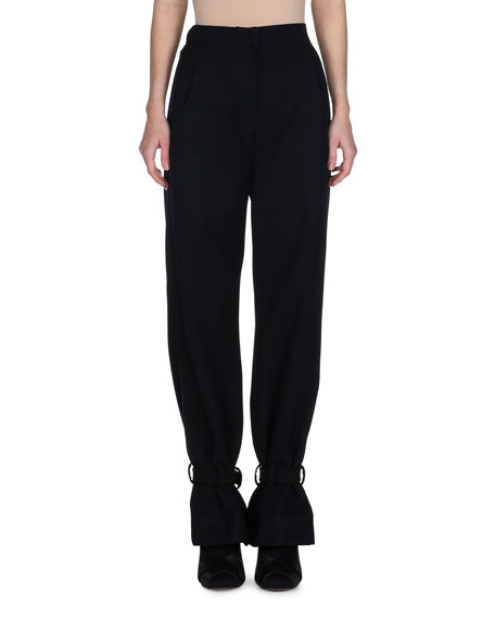 Fendi High-Waist Ankle-Tie Gabardine Pants