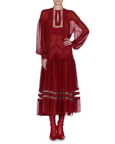 Chiffon Drop-Shoulder Midi Dress