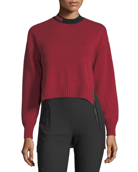 Cropped Contrast-Collar Sweater