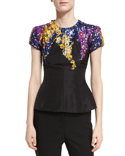 Floral Tendril Faille Top