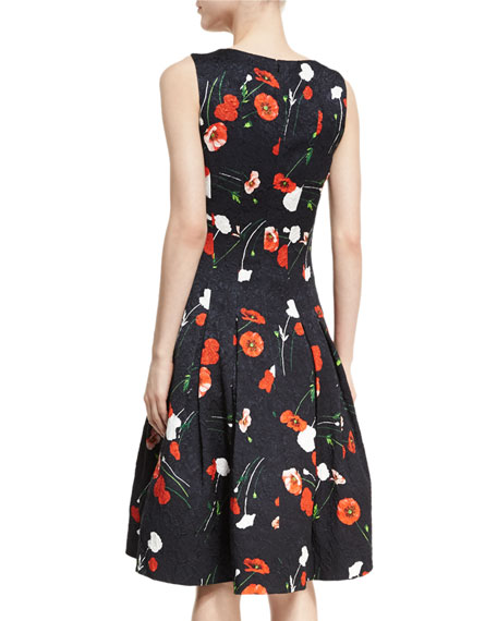 Poppy-Print Jacquard A-Line Dress
