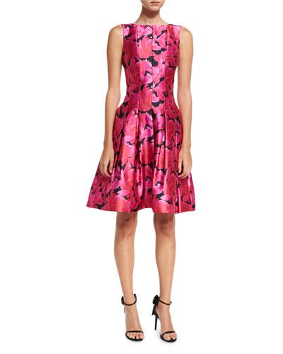 Floral Petal-Print Fit & Flare Dress