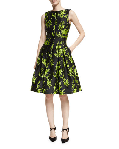Sleeveless Vine-Embroidered Cocktail Dress