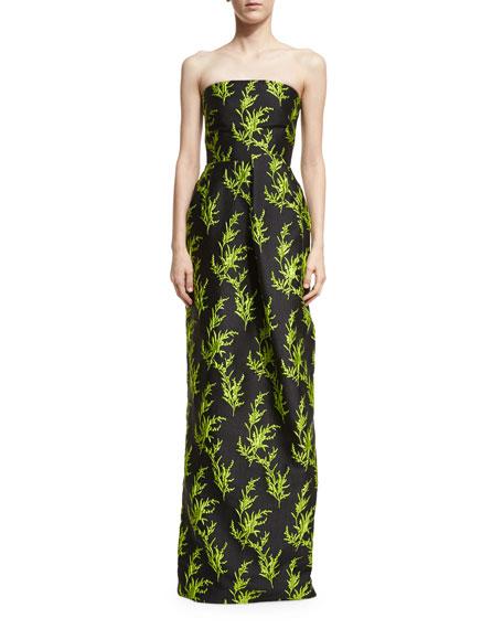 Vine-Embroidered Strapless Column Gown