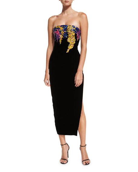 Oscar de la Renta Strapless Paillette Trellis Gown