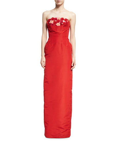 Strapless Floral Faille Column Gown