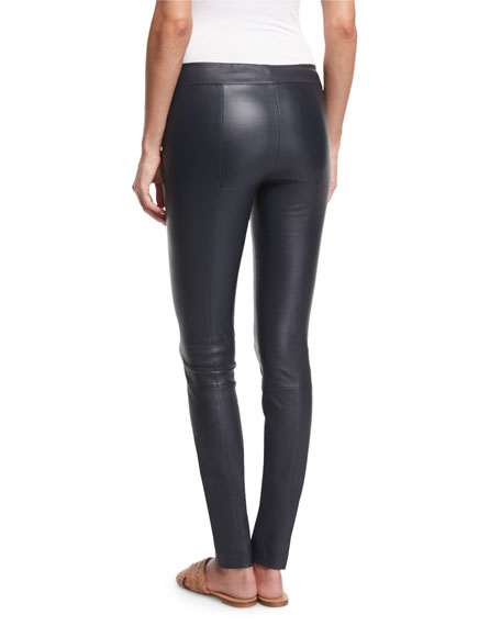 Moto Leather Leggings, Navy