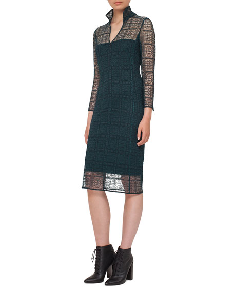 Akris Eve Crocheted Bracelet-Sleeve Shirtdress, Black