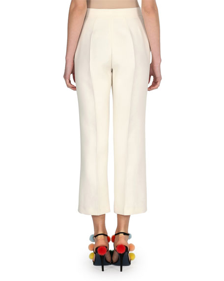 Cropped Wool/Silk Wide-Leg Pants