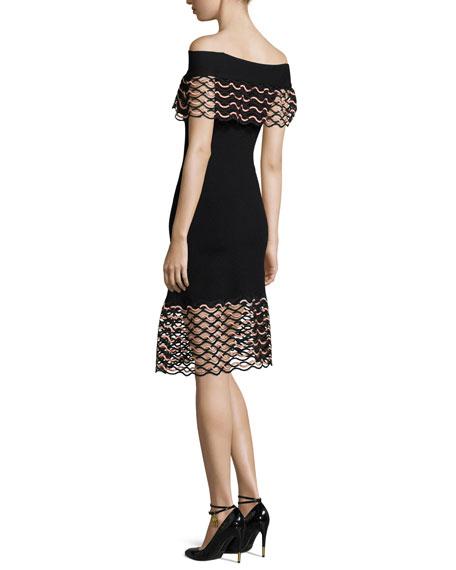 Wave-Lace Off-the-Shoulder Dress, Black