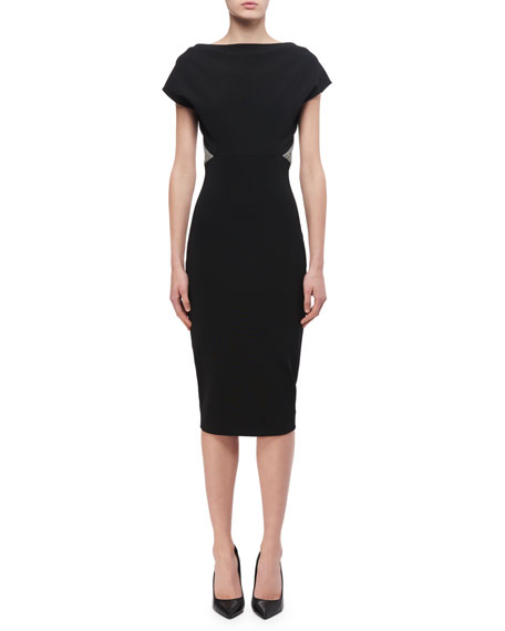 Victoria Beckham Contrast-Trim Sheath Dress