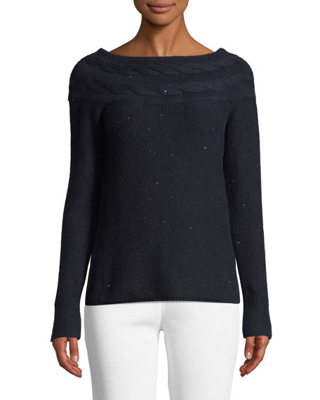 Bateau-Neck Long-Sleeve Paillette Cashmere-Silk Sweater