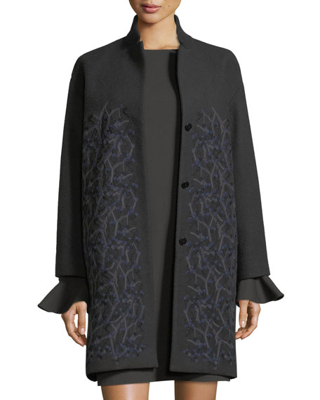 Loro Piana Winter Sonnet Embroidered Cashmere Car Coat