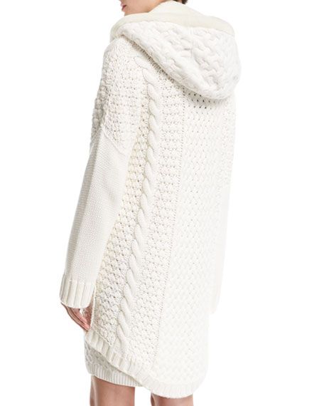 Anuuk Cable-Knit Zip Cardigan with Shearling Hood