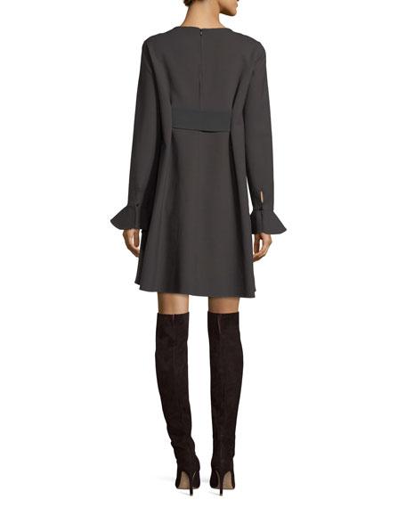 Flounce-Sleeve Tent Dress