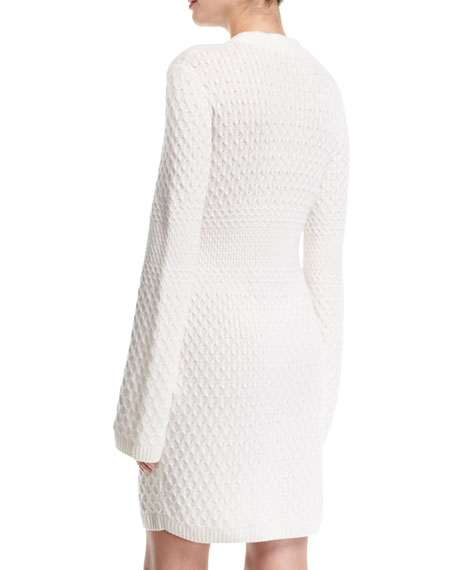 Cable-Knit Cashmere Sweater Dress with Pockets