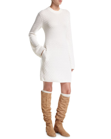 Loro Piana Cable-Knit Cashmere Sweater Dress with Pockets