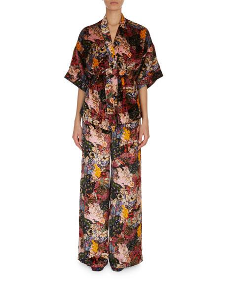 Erdem Zeta Floral-Print Velvet Kimono Jacket and Matching