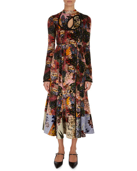 Zuzanna Patchwork Floral Velvet Midi Dress