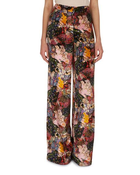 Erdem Birte Floral-Print Velvet Pajama Pants