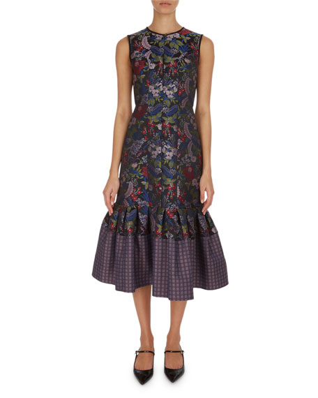 Erdem Maelee Floral Jacquard Midi Dress