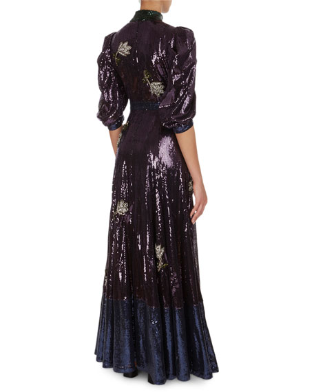 Evadne Floral Sequined Silk Organza Gown