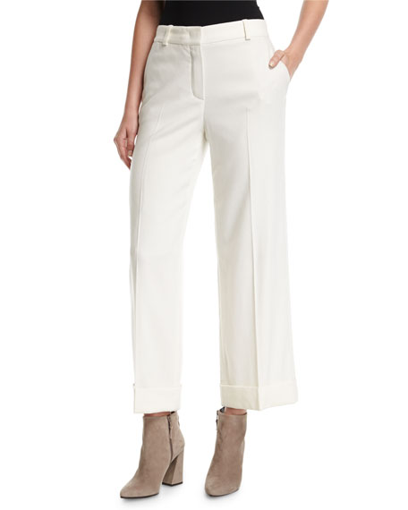 Cropped Cashmere Flannel Wide-Leg Pants