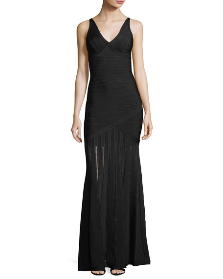 Herve Leger Nathalie Transparent Bandage Knit Gown