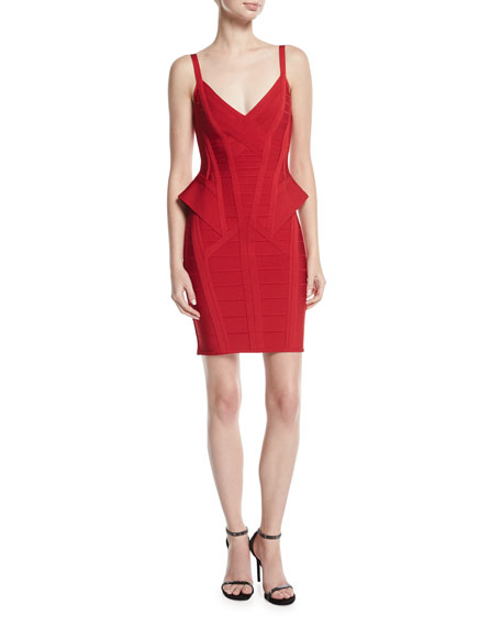 Herve Leger Sleeveless Peplum Bandage Minidress