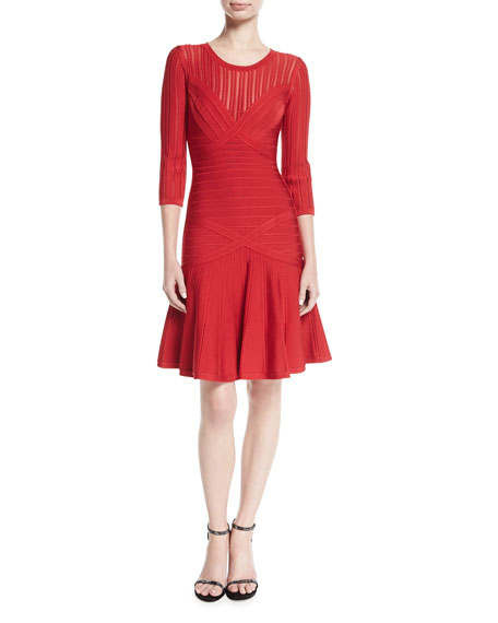 Herve Leger Kalyn Pico-Trim 3/4-Sleeve Flounce Dress